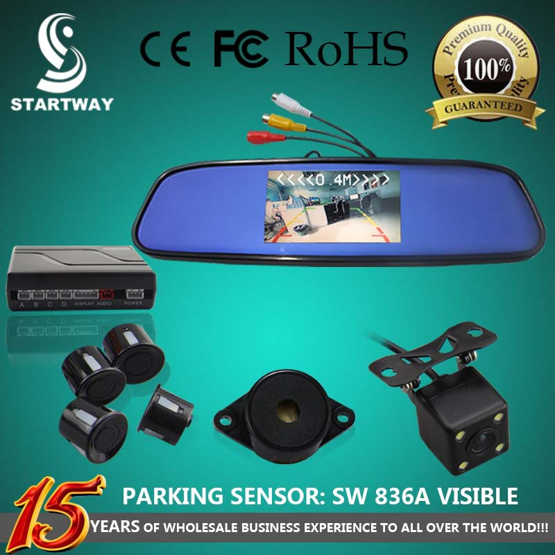 Car Rear View Camera Double Usage With 4.3 inch Color LCD Car Back view Mirror Monitor with Visible Parking Sensor SW836APV(China (Mainland))