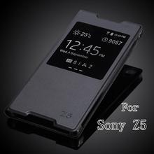 Для Sony Xperia Z5 E6603 E6633 E6653 E6683 роскошные мода окно просмотра ультратонкий искусственная кожа откидная крышка чехол бесплатная доставка