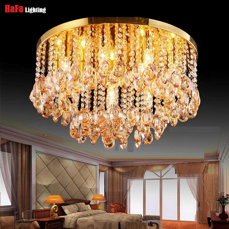 Round Crystal Ceiling Light For Living Room Indoor Lamp luminaria home decoration Crystal Ceiling Light Fixtures For Bedroom(China (Mainland))