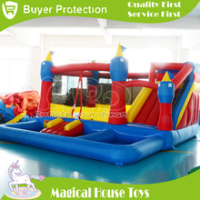 Cheap nylon bounce house inflatable combo slide bouncer with blower(China (Mainland))