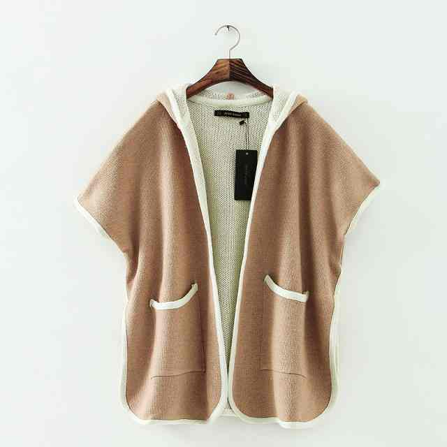 Free Shipping air 2014 new casual fashion solid color doublepockets hooded Cape coat knitting 20141216740(China (Mainland))
