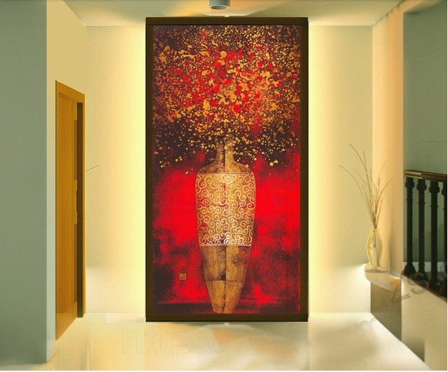 2016 new western painting wallpaper sliding door entrance for Wallpaper for home entrance