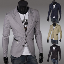 2015 New Sale Regular Polyester Cotton Single Breasted Broadcloth Full Jacket Blazer Men Blazer Masculino