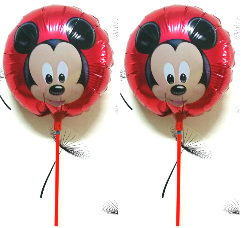 20Pcs/Lot, 8.5inch Mickey Mouse Balloon foil ballon with sticks, Air Balls,kids Toy, mickey mouse party supplies classic toys(China (Mainland))