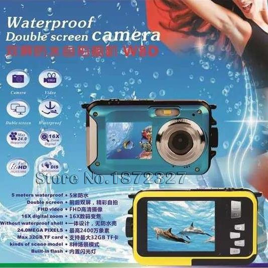2016 New HD Double Screen 5M Waterproof Camcorder 16X Zoom 1920x1080 24MP pixels CMOS sensor Digital Camera DVR Video recorder(China (Mainland))