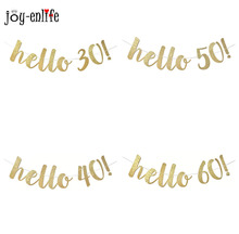 Buy Hello 30 40 50 60 paper garland flags bunting 30th Birthday happy birthday party decorations for $3.41 in AliExpress store