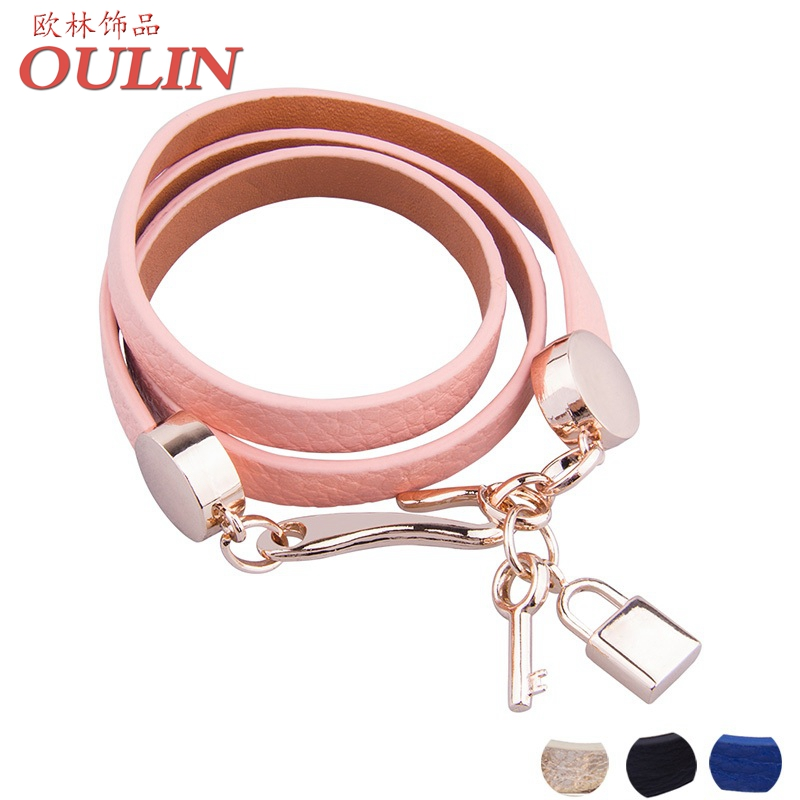 OULIN Luxury Real 18K Gold Plated Genuine Pink Wrap Leather Bracelet Three Circle Jewelry for Women PI0327(China (Mainland))