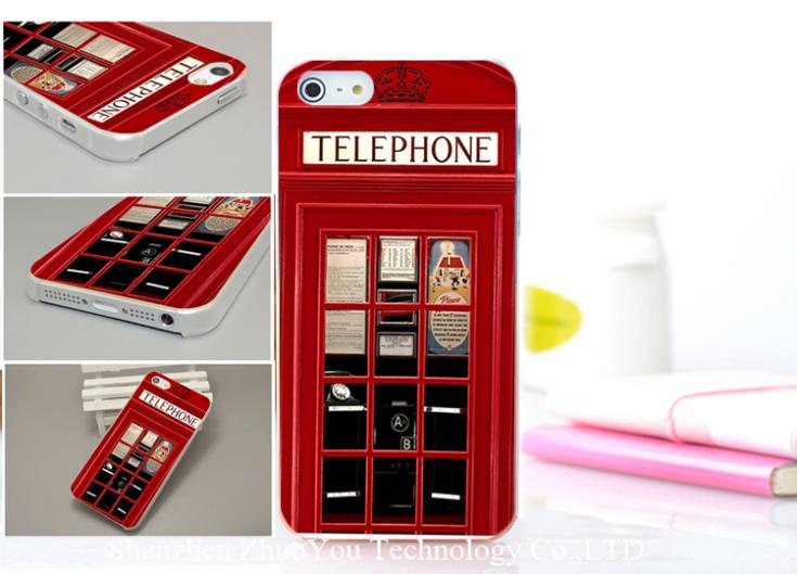 1PC red Public telephone lattice telephone style Hard Transparent PC Case Cover for iphone 4 4s 4g 4th(China (Mainland))