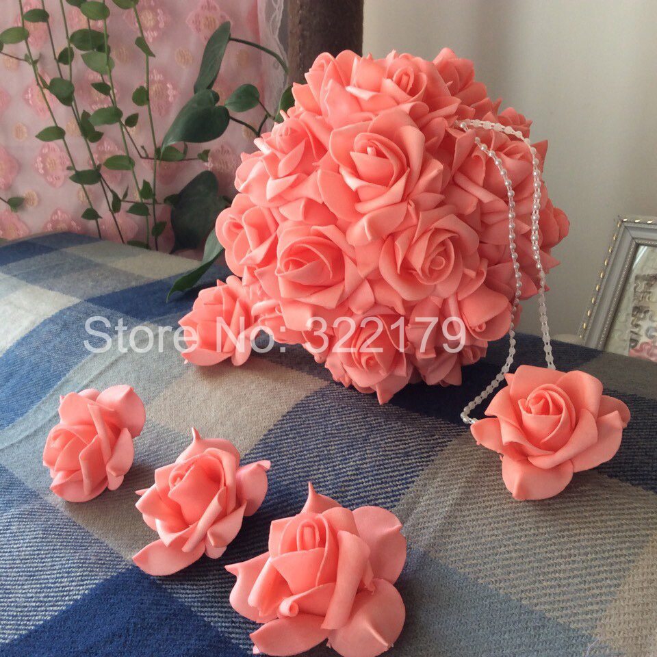 Buy 100 pcs coral wedding flowers foam - Rosas color coral ...
