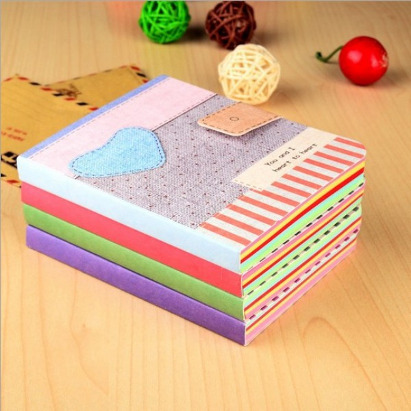 Cute love partten notebook Fabric cover diary book journal notepad stationery Office school supplies(China (Mainland))