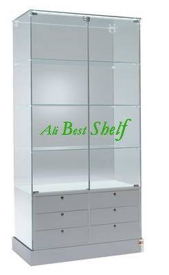 Wooden and glass cabinet display showcase with lights and drawers new design in 2014 hot selling item shelf manufacturer(China (Mainland))