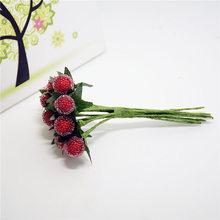 Дешевые 12 шт. пластиковые искусственный берри гранат букет на свадьбу украшение Scrapbooking декоративный венок поддельные цветы