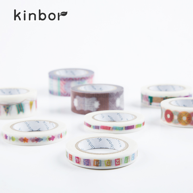 Kinbor Paper Tape 6 Styles Unique Adhesive Food Pattern Print Scrapbook School Supplies Student Stationery Washi Tapes(China (Mainland))
