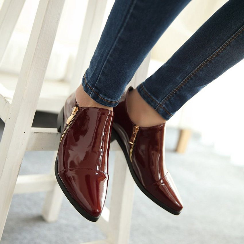 Big size 33-43 New summer fashion sexy women shoes Patent leather zip pointed toe flats black Wine red Sexy AA289<br><br>Aliexpress