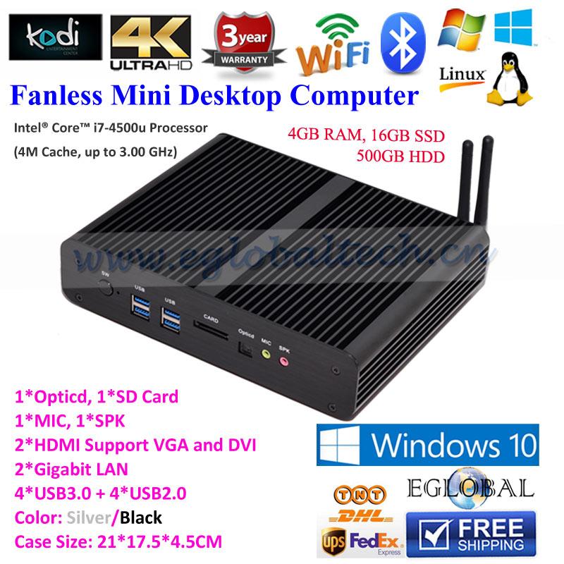 2HDMI 2Gigabit Lan 4USB2.0 4USB 3.0 Intel HD4500 4K HTPC Mini Fanless PC Windows 10 TV Box OpenELEC Kodi CE FCC ROHS Small PC(China (Mainland))