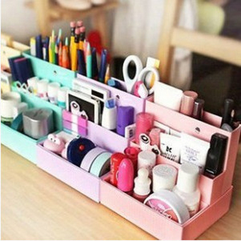 Paper storage box desk decor stationery makeup box cosmetic organizer 2015 new foldable container Free shipping(China (Mainland))