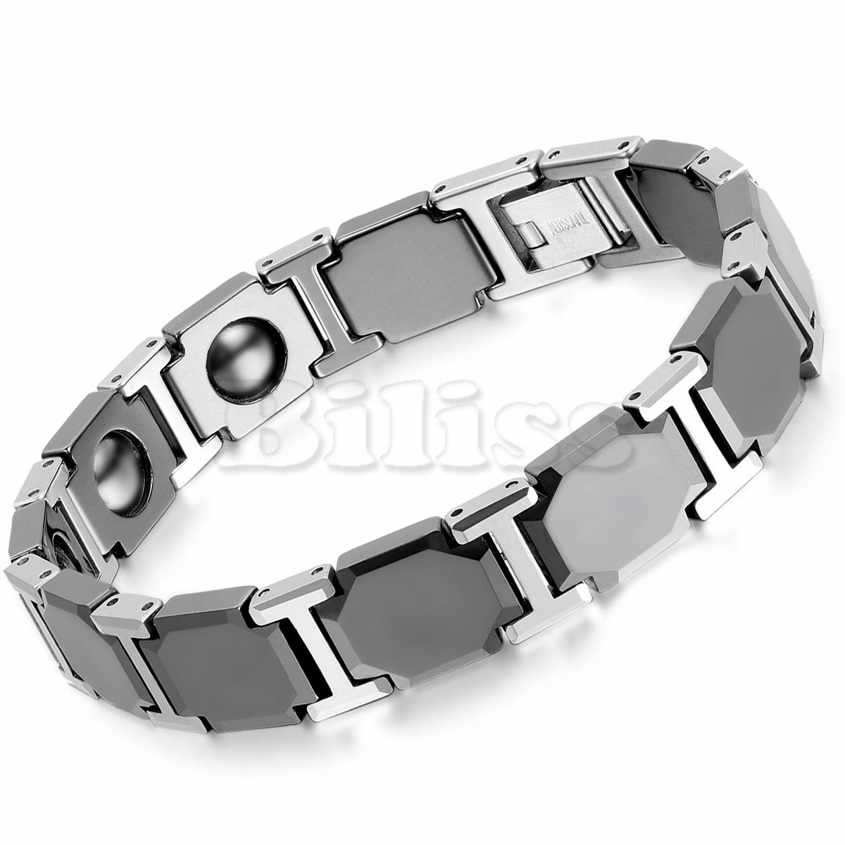 20cm Black Ceramic Bracelet Bioenergy Bangle Magnetic Germanium Health Chain Tungsten Men Bracelet Fashion Jewelry(China (Mainland))