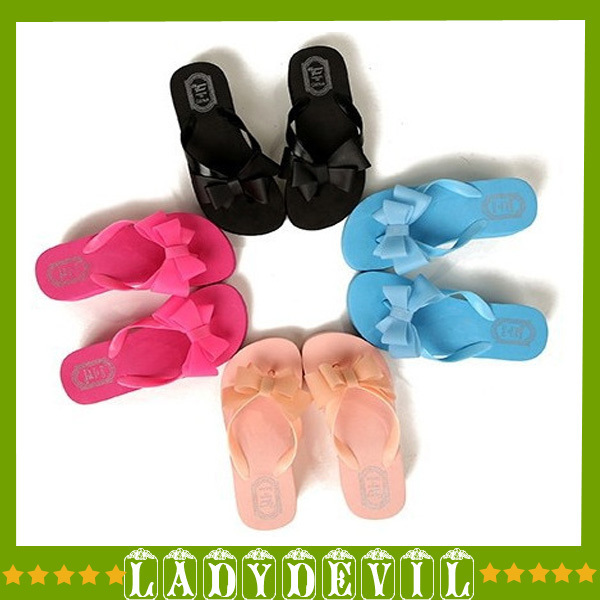 New 1pair Summer Fashion Women Knotbow Sandals Shoes Beach Flat Wedge Flip Flops Lady Slippers Free Shipping 6 color 36-39(China (Mainland))