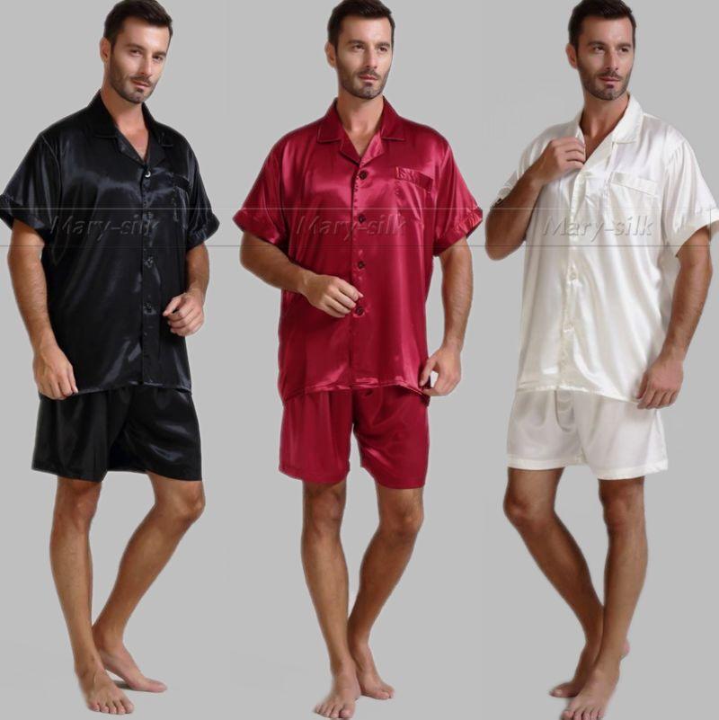 Summer Mens Silk Satin Pajamas Set Pajama Pyjamas PJS Sleepwear U.S.S,M,L,XL,2XL,3XL Short Sleeves Solid
