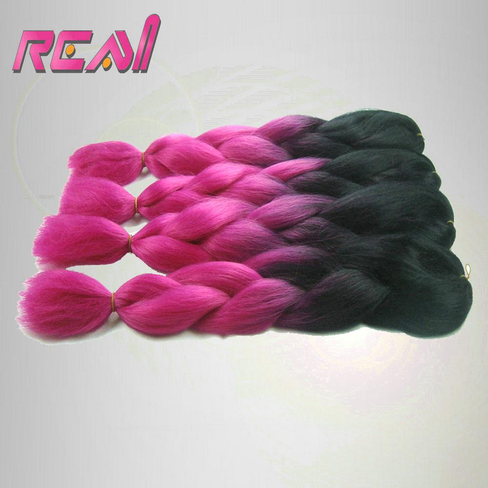 4 Pcs Black and Pink Omber Synthetic Hair Extensions Jumbo Braids, 100% Kanekalon Jumbo Braid Synthetic Braiding Hair<br><br>Aliexpress
