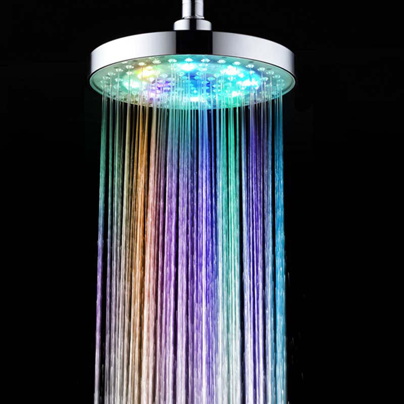 New Round RGB 8 inch 12 LED 7 Colors Changing LED Shower Head Top Spray Showerhead