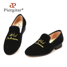 New style crown embroidery handmade men velvet shoes men loafers wedding and party shoes men flats size US 6-14 Free shipping(China (Mainland))