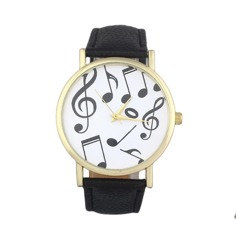 Гаджет  watches women fashion watch 2015 New Female Casual Musical Notes womens watches  montre femme Faux Leather Battery Clock YL10 None Часы