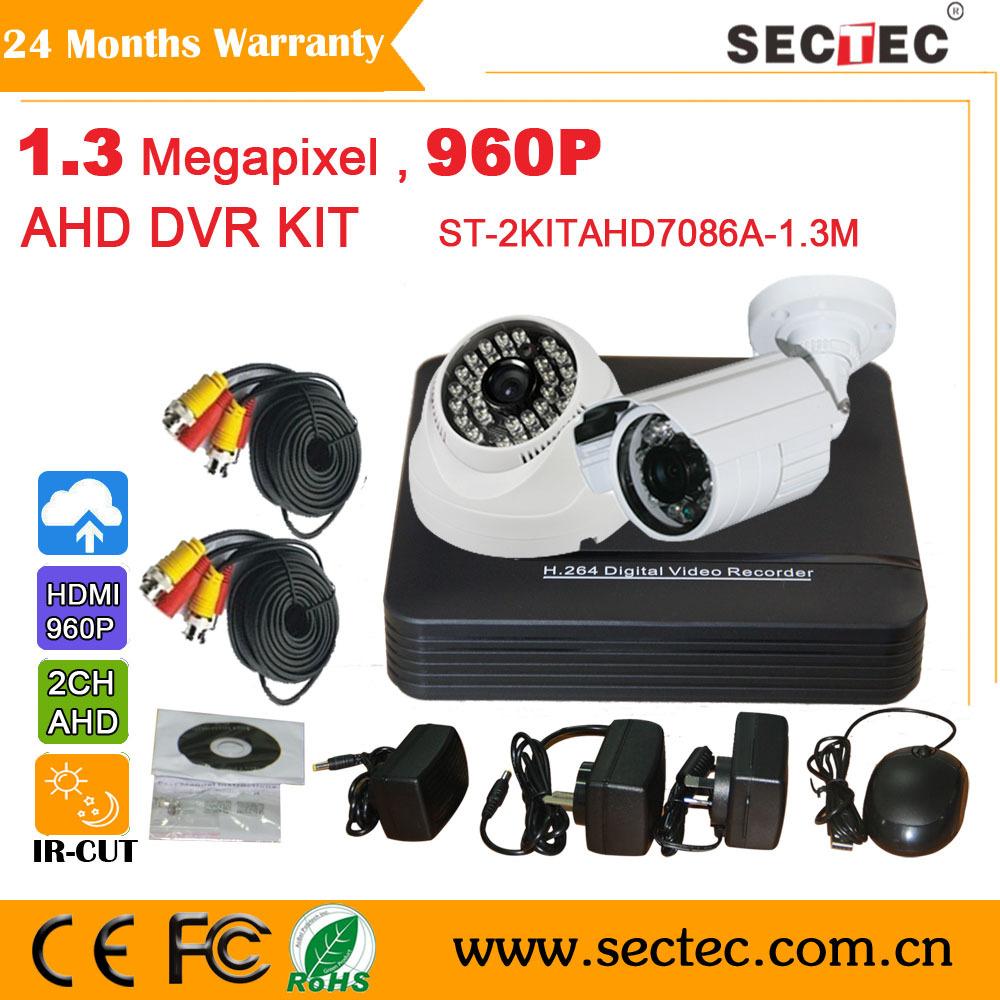 CCTV Camera KIT Security System 720P Mini AHD DVR with 2pcs 960P IR Cameras kit(China (Mainland))