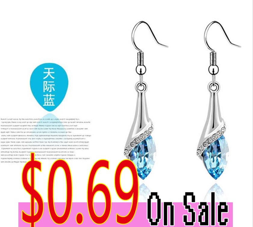 2015 Valentine 's day for gift Hot selling earrings for women elegant & noble jewelry crystal earrings big earrings A44(China (Mainland))