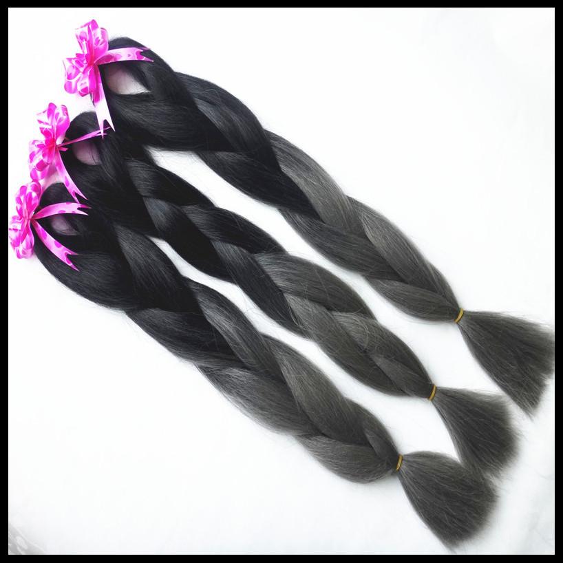 3 PACK Free Shipping Folded length 24 100g Black Dark Grey Ombre Two Tone Colored Kanekalon Jumbo Braiding Hair for black women<br><br>Aliexpress