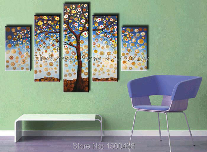 5 piece wall art tree painting oil handmade canvas modern abstract living room decoration - Paints for exterior walls set ...