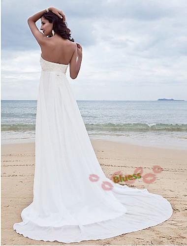 Hot Selling Fairy Sleeveless Beach Chiffon Dresses Beading Sweetheart Floor-Length Lace Up Beach Wedding Dresses Bridal Gowns(China (Mainland))