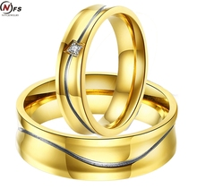Buy NFS 1 Pair Stripe Couple Rings Women Men Fashion Stainless Steel Gold Engagement Jewelry Zircon Crystal Anillos Female for $4.31 in AliExpress store
