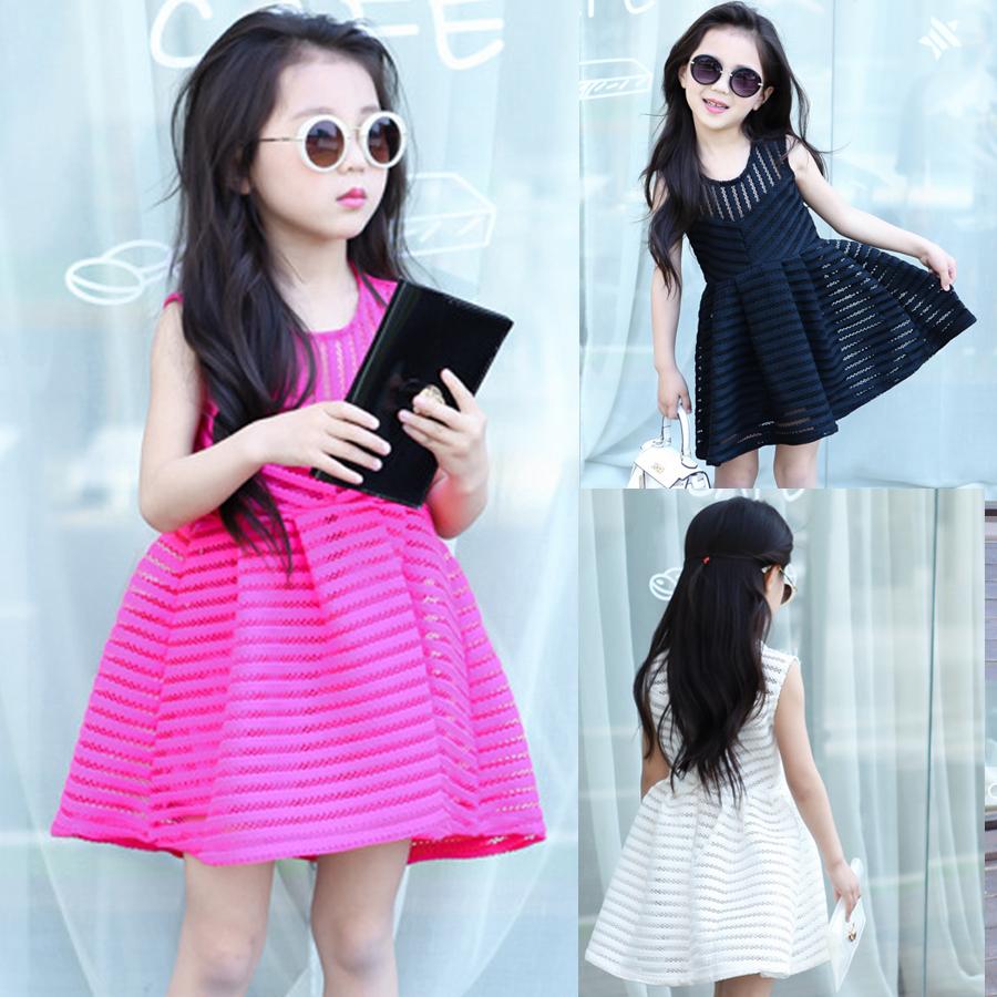 2015 New hot summer Beauty Chiffon chiffon lace striped TUTU Children Baby kid prince girl Evening Ball Dress 90-130 Pink White(China (Mainland))