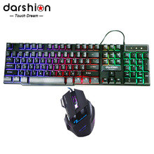 Russian Rainbow Keyboard  Mouse Combo Colorful  +  Backlit  Gaming Mouse Breathing Light  7 Buttons 3600DPI(China (Mainland))