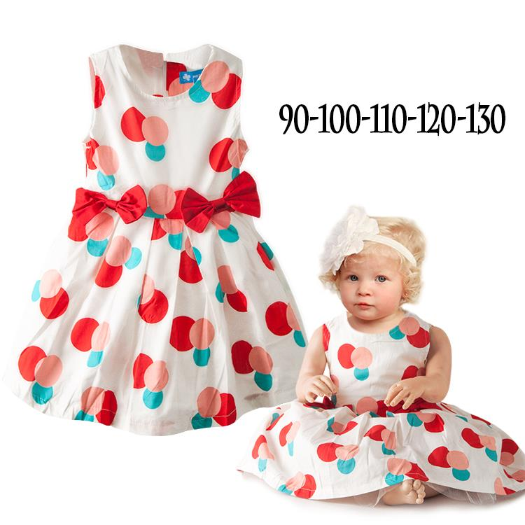 Fashion European Style Kids Brand Dress Infant Baby Girl Colorful Dot Bow Dresses Toddler Children Fancy Party Clothing(China (Mainland))