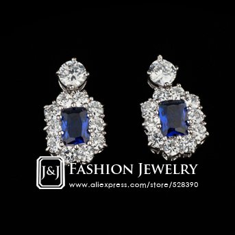 Royal Vintage 18k Rose Gold Plated QUEEN'S Blue Crystal Zircon Bridal Earrings Jewellery for Women(China (Mainland))