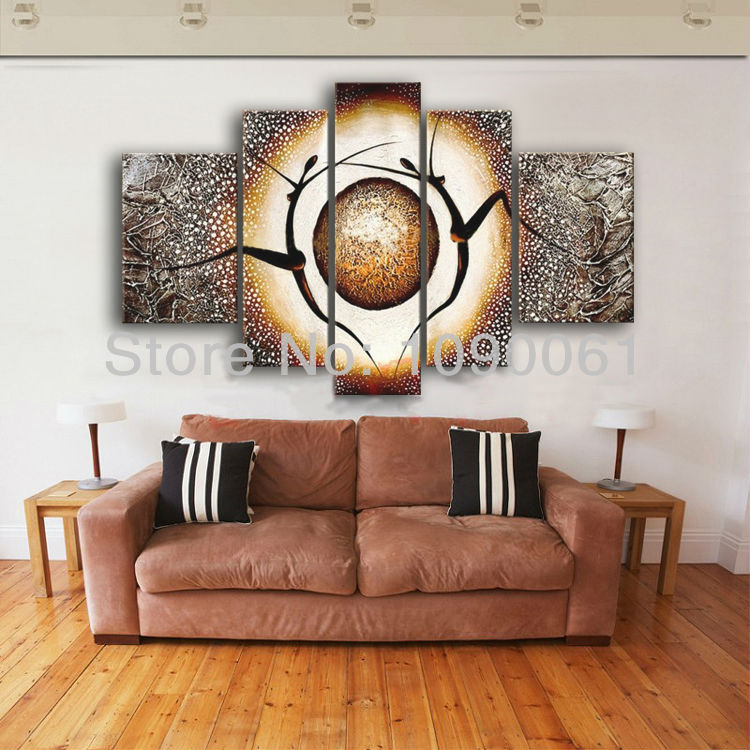 Hand painted dancing oil paintings modern abstract pop art for 5 piece mural