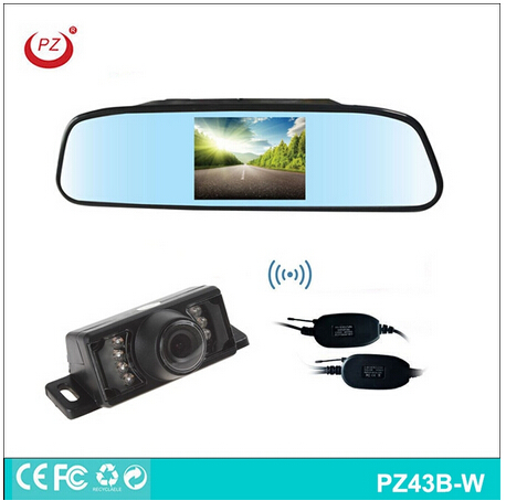 Wireless Automotive vehicle parking assistant system all-in-one System,4.3 inch rearview mirror monitor+ reversing bakcup camera(China (Mainland))
