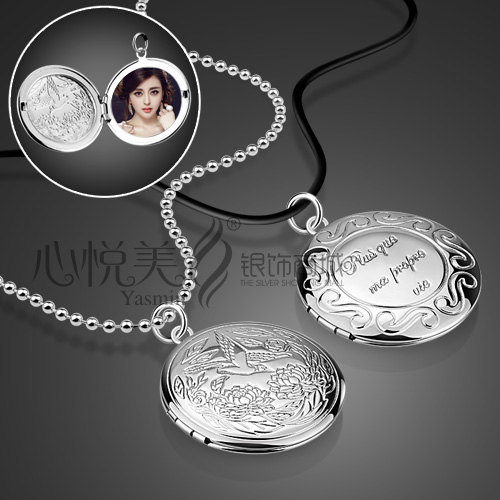 DIY ideas you can put photos locket 925 sterling silver link chain round pendant necklace locket(China (Mainland))