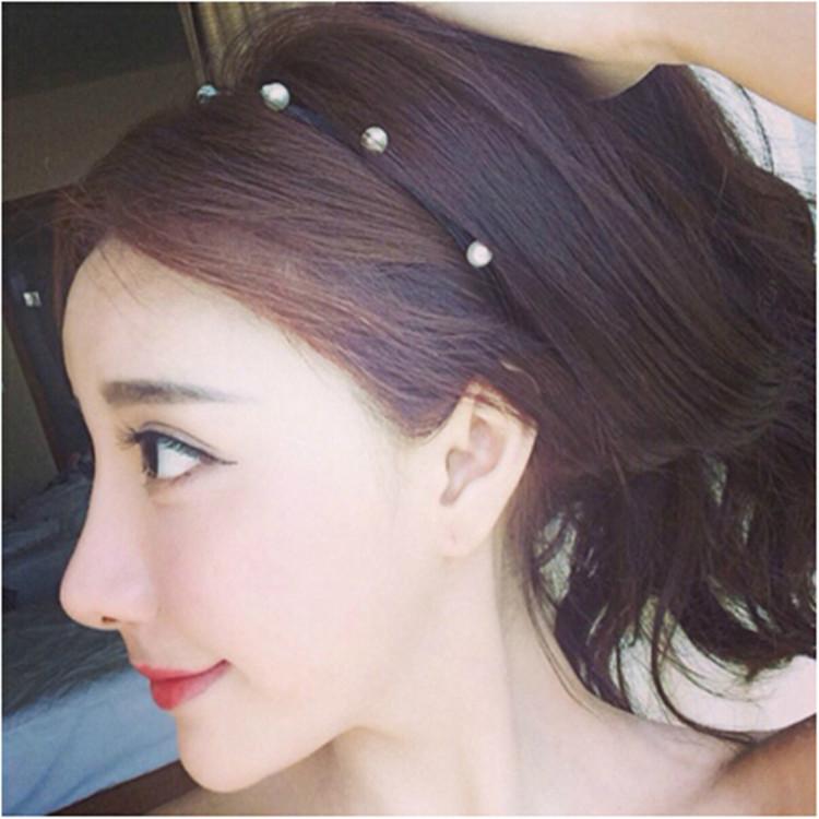 Free shipping simple hand- beaded pearl black hair hoop headband Korean style(China (Mainland))