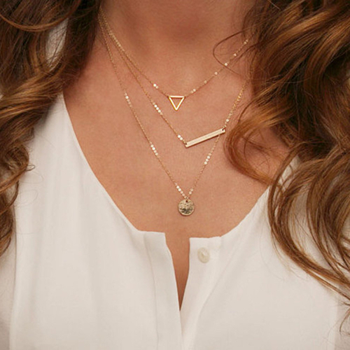 Fashion Gold Plated Fatima Hand 3 Layer Chain triangle Necklace Long Bar Jewelry and Metal Plate
