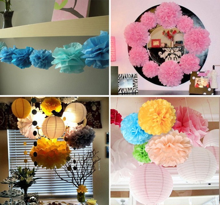 45pcs (10cm 15cm 20cm) Tissue Paper Pom Poms Mix Size Flower Balls Wedding Pom Poms Home Wedding supplies Decoration(China (Mainland))