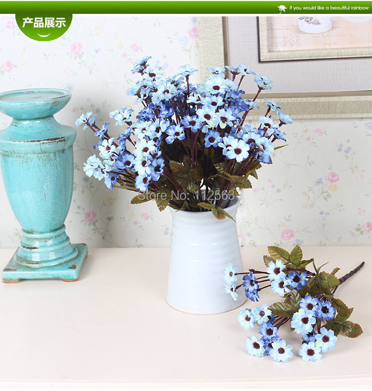 Cheap Artificial Flowers Blue Daisy Silk Flower Birthday home decoration Factory Directly manufacturer decorative flowers - Anna one-stop shopping store