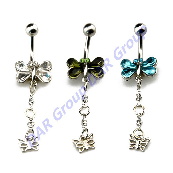 DAR Fashion Zircon Stone Dragonfly Dangling Crystal Navel Barbell Piercing Stud Body Jewelry Belly Button Rings<br><br>Aliexpress