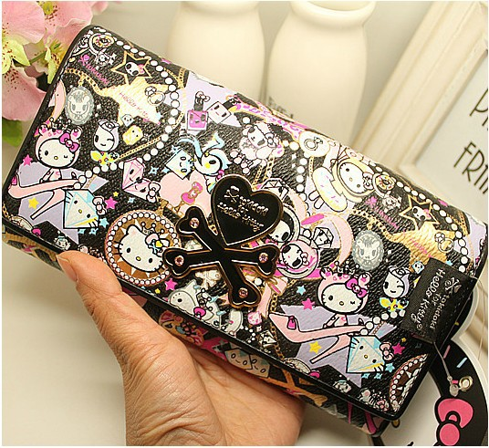 Free shipping Hello Kitty purse handbags Toki001 Long Wallets bag zippy goya wallet girl fashion hellokitty women cute PU skull(China (Mainland))