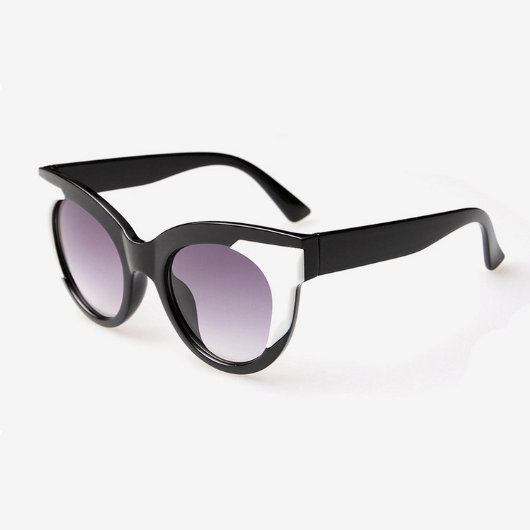 Super Quality Cat Eye Round Sunglasses Women Men Gradient Glasses Double Colorful Frame Wide Line Eyewear oculos de sol feminino(China (Mainland))