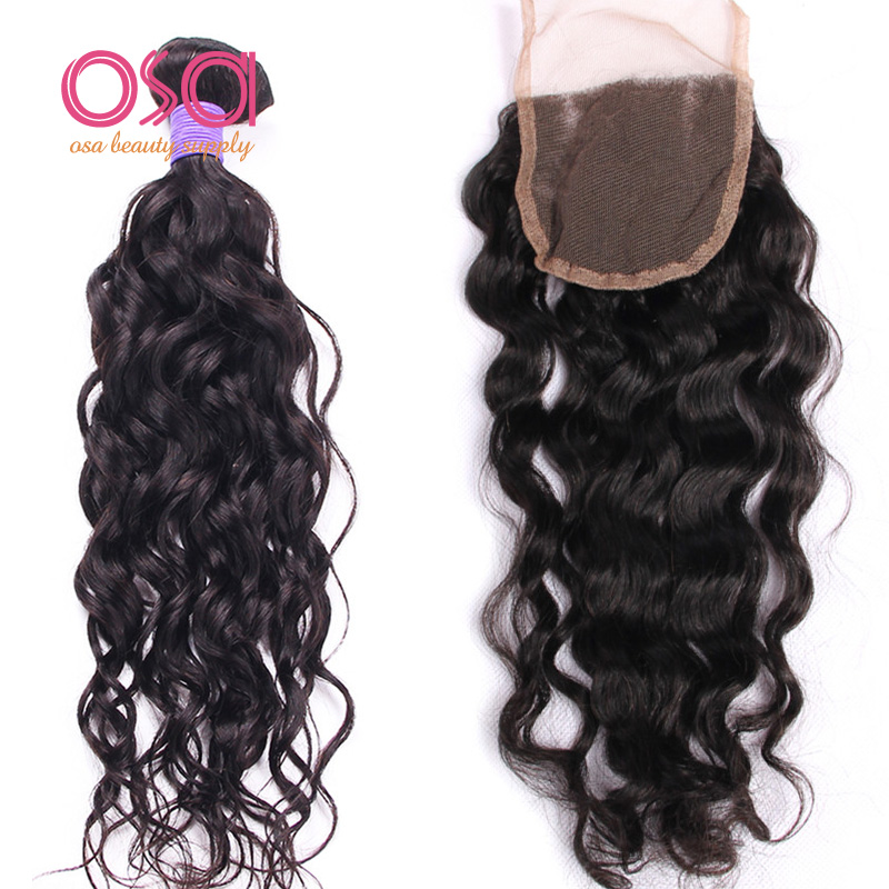OSA Hair Beauty Supply Brazilian Virgin Water Wave  Hair With Lace Closure 4x4 Size Smooth 3Pcs Wefts With 1 Lace Closure Cheap<br><br>Aliexpress