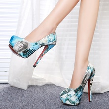 2016 Marilyn Monroe Pattern Sexy High Heels Brand Women Pumps Ladies Shoes Woman Chaussure Femme Zapatos