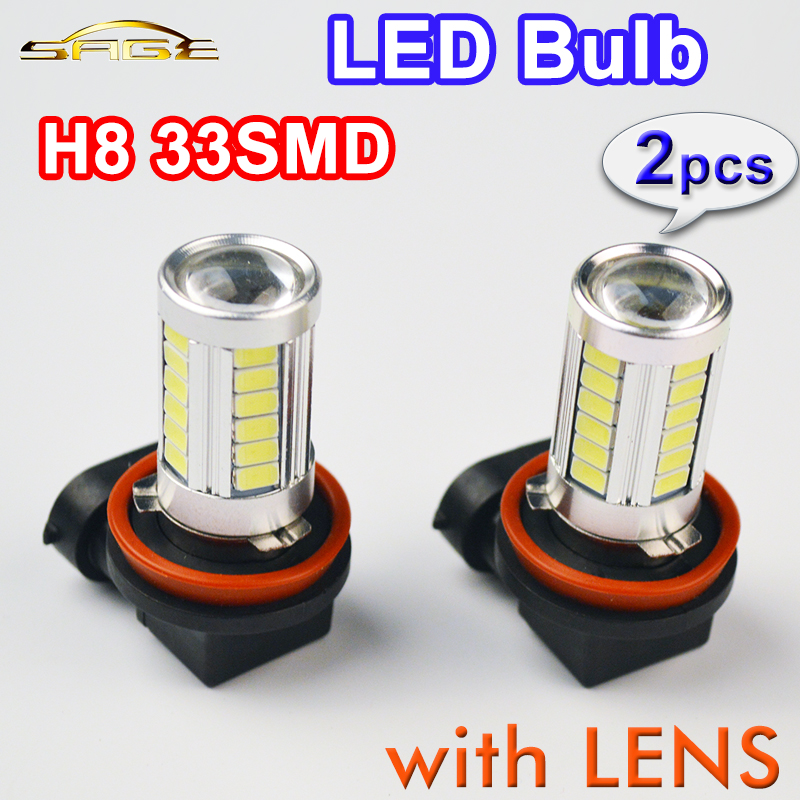 2 PCS H8 33SMD Car Fog Light Super White Auto Headlight 5630 SMD LED Bulbs with LENS 12V 4W(China (Mainland))